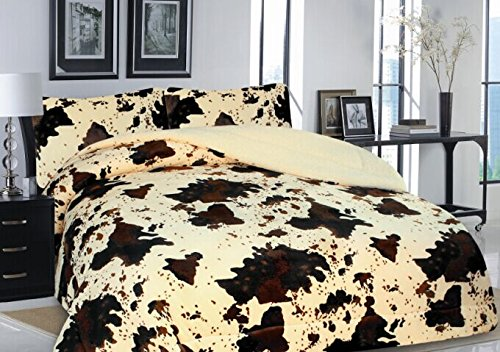 Linen Mart Western Rodeo Cowhide Print Design Borrego Fleece Blanket Style - 3 Piece Set (Jumbo King, ()