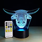 Circle Circle Cow Head Colorful Gradients 3D Optical Illusion Lamp 7 Colors Change and 15 Keys Remote Control Children Kids Bedside Table LED Night Light