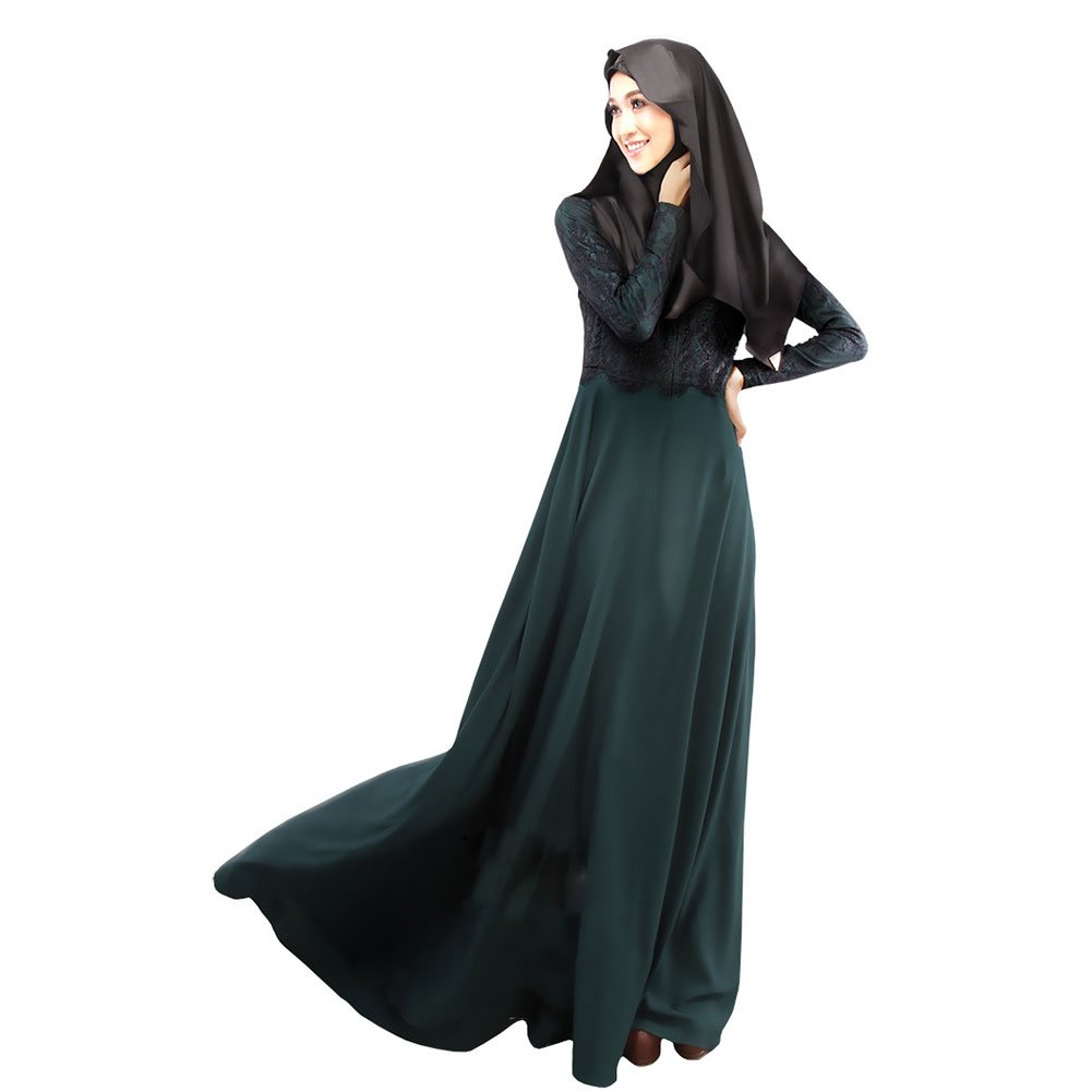 LSERVER Womens Casual Middle East Moslem Dress Abaya Silk Fabric Clothes Full Length Atrovirens M
