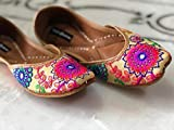 Off-White Dress Shoes, Pink Orange Blue Green Embroidered Women Jutti, Indian Ethnic shoes, Women Khussa