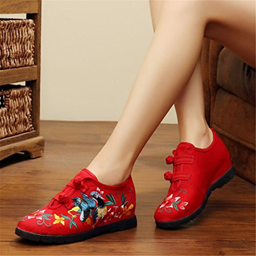 Zapatos de Tacón/Spring Thick Elegant Woman China Wind Embroidered Shoes Red