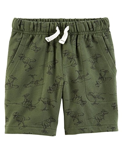 Dino Short - Carter's Little Boys' Pull-on French Terry Shorts (3T, Green/Dino)