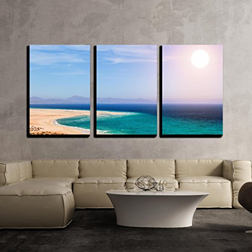wall26-3 Piece Canvas Wall Art - Sandy Beach on the Island of Fuerteventura, Canary, Spain - Modern Home Decor Stretched and Framed Ready to Hang - 16''x24''x3 Panels by wall26