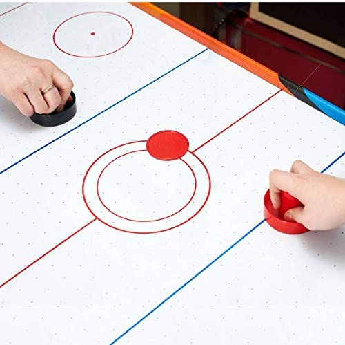 4 Striker, 4 Puck Pack Coopay Air Hockey Pushers and Thicker Air Hockey Pucks Goal Handles Paddles Replacement Accessories for Game Tables Red and Black
