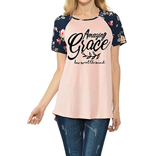 Amazing Grace Womens Raglan Tee With Floral Short Sleeves T-Shirts(CT200-438) (Amazing Tee)