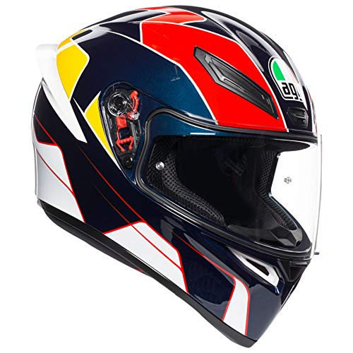 AGV Unisex-Adult Full Face K-1 Pitlane Motorcycle Helmet Blue/Red/Yellow Large ()