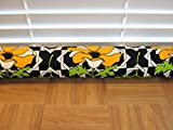 "Door Draft Stopper Fabric Only Medium Weight Cotton Fabric Black Orange Custom Made 24''- 42"" X 3.5"" Short Extra Long You Pick Length Same Price"