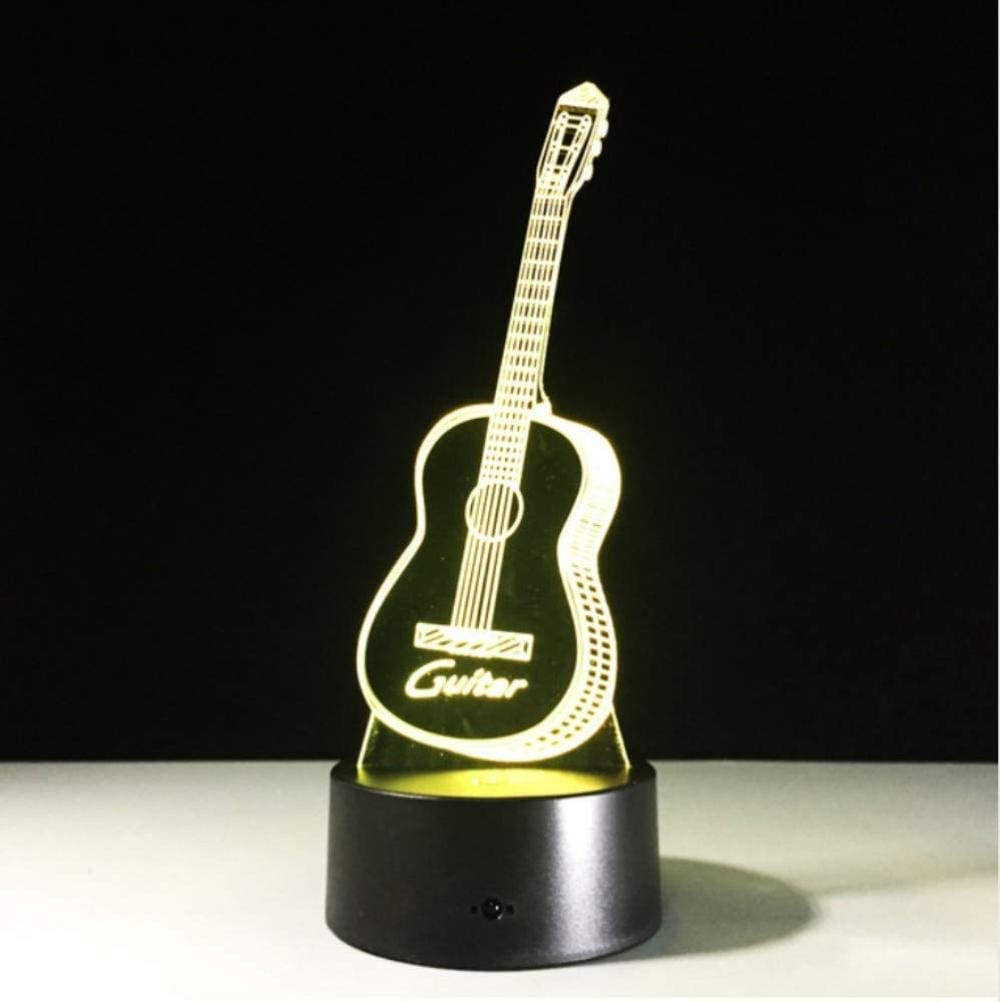 Guitarra 7 colores Rgb Lámpara 3D Visual Led luces nocturnas para niños Touch Usb Lámpara de mesa Lámpara Bebé durmiendo Luz nocturna Usb Led