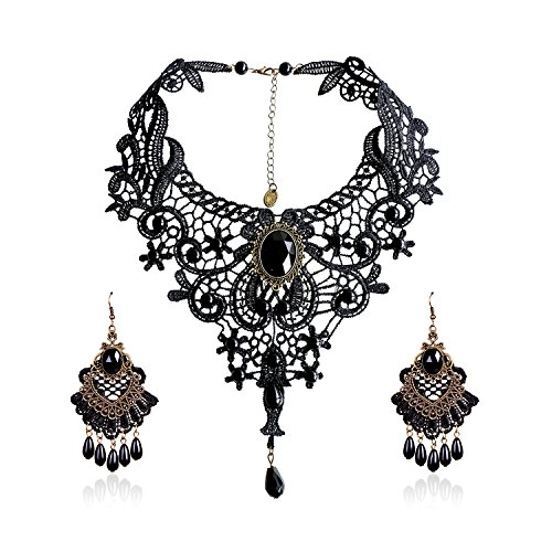 Eternity J. Elegant Vintage Black Lace Victorian Lolita Gothic Pendant Choker Necklace Earrings Set