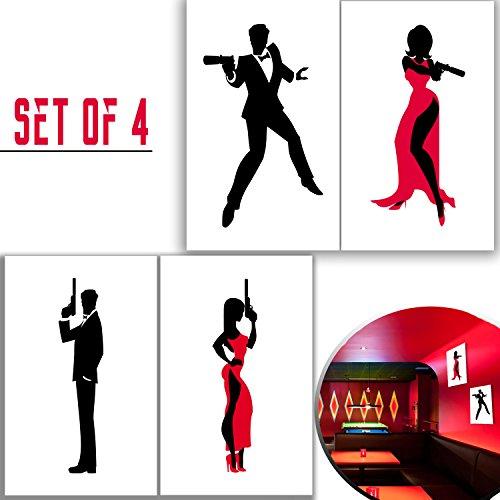 "Set of 11""x17"" 4 Secret Agent Silhouette Art Posters. Spy Fi"