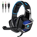 [PS4 New Xbox One Gaming Headset] EasySMX Stereo Gaming Headset USB and 3.5mm Audio Connector Wired Over-ear Gaming Headset with Hidden Mic Breathing LED Light for PC/PS4/New Xbox One (Black-Blue)