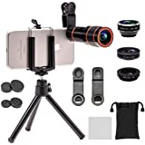 Apexel 4 in 1 Camera Lens Kit(12x HD Optical Zoom Lens, 198 Fisheye,0.63x Wide Angle,15x Macro, Mini Tripod & Phone Holder) for iPhone 8/ 7/ 6/6s plus Samsung HTC Tablet Andriod Phone