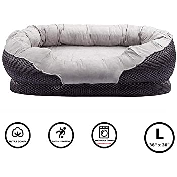 Pet Deluxe Dog and Puppy Bed, Grooved Orthopedic Foam Beds with Removable Washable Cover, Ultra Comfort, Padded Rim Cushion, Nonslip Bottom, for Dogs / Puppies - Grey 38'' x 30''