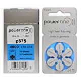 Power One Size 675 MERCURY FREE Hearing Aid Batteries (60 batteries)