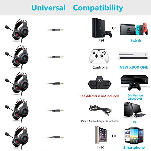 Jeecoo PS4 Xbox One Gaming Headset Over-ear Bass Gaming Headphones PC Headset with Microphone for PS4 PlayStation 4 Xbox One PC Computer Smart Phone