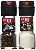 Seasoning Bundle - 2 Items: McCormick's Sea Salt Grinder 2.12 Oz. and McCormick's Black Peppercorn Grinder 1.0 Oz.