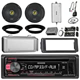 Kenwood KDC118 CD Receiver Bundle / 2 Kicker 6.5' Speaker + Motorcycle Speaker Adapters + Amplifier + Dash Kit W/ Radio Cover + Handle Bar Conrol for 98-2013 Harley Davidson + Enrock Antenna