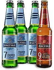 Baltika Variety Pack 4 cervezas en botella, 3 baltika 7 de 470 ml cada una y 1 botella Baltika 9 de 450 ml