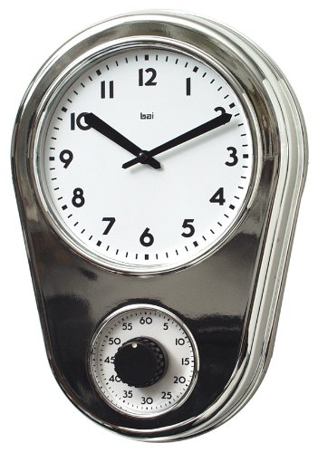 BAI Retro Kitchen Timer Wall Clock, Chrome Silver (Bai Wall Clock)