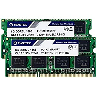 Timetec Hynix IC 16GB KIT (2x8GB) DDR3L 1866MHz PC3-14900 Unbuffered Non-ECC 1.35V CL13 2Rx8 Dual Rank 204 Pin SODIMM Memory RAM Module Upgrade (16GB KIT (2x8GB))
