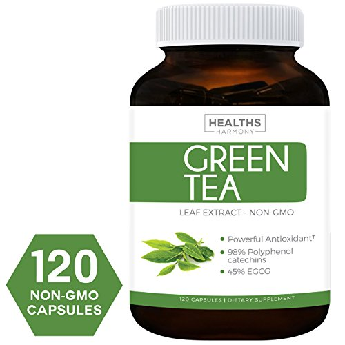 Best Green Tea Extract (NON-GMO) 120 Capsules With High Potency EGCG For Weight Loss & Metabolism Boost – Natural Diet Pills – Powerful Polyphenol Catechins Antioxidant Supplement