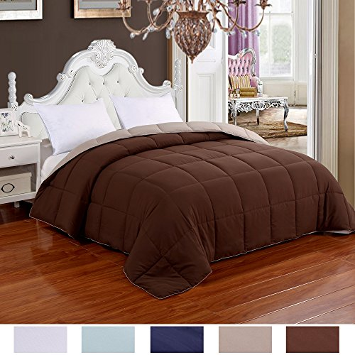 Brown Comforter - Homelike Moment Lightweight Reversible Comforter Down Alternative Queen All Season Duvet Insert Microfiber Comforter Chocolate Brown/Khaki Full/Queen Size With Corner Tabs Hypoallergenic