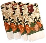Autumn Thanksgiving Harvest Dish Towels - Set of Four Cotton Dish Towels (Pumpkin Print)