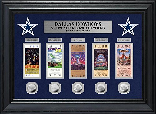 Champions Team Photomint (Dallas Cowboys 5 Time Super Bowl Champions Deluxe Silver Coin & Ticket)