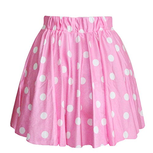 AvaCostume Women's High Waisted Candy Colors Polka Dot Skirt, (Pink Polka Dot Skirt)