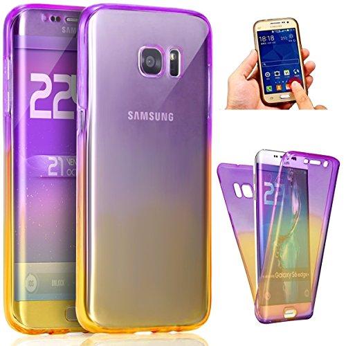 Funda Samsung Galaxy S6 edge Cover Samsung G925,Ukayfe Funda 360 Doble Delantera + Trasera Gel Transparente Silicona Gel para Samsung Galaxy S6 edge Samsung G925,Samsung Galaxy S6 edge Samsung G925 Cr Púrpura + amarillo