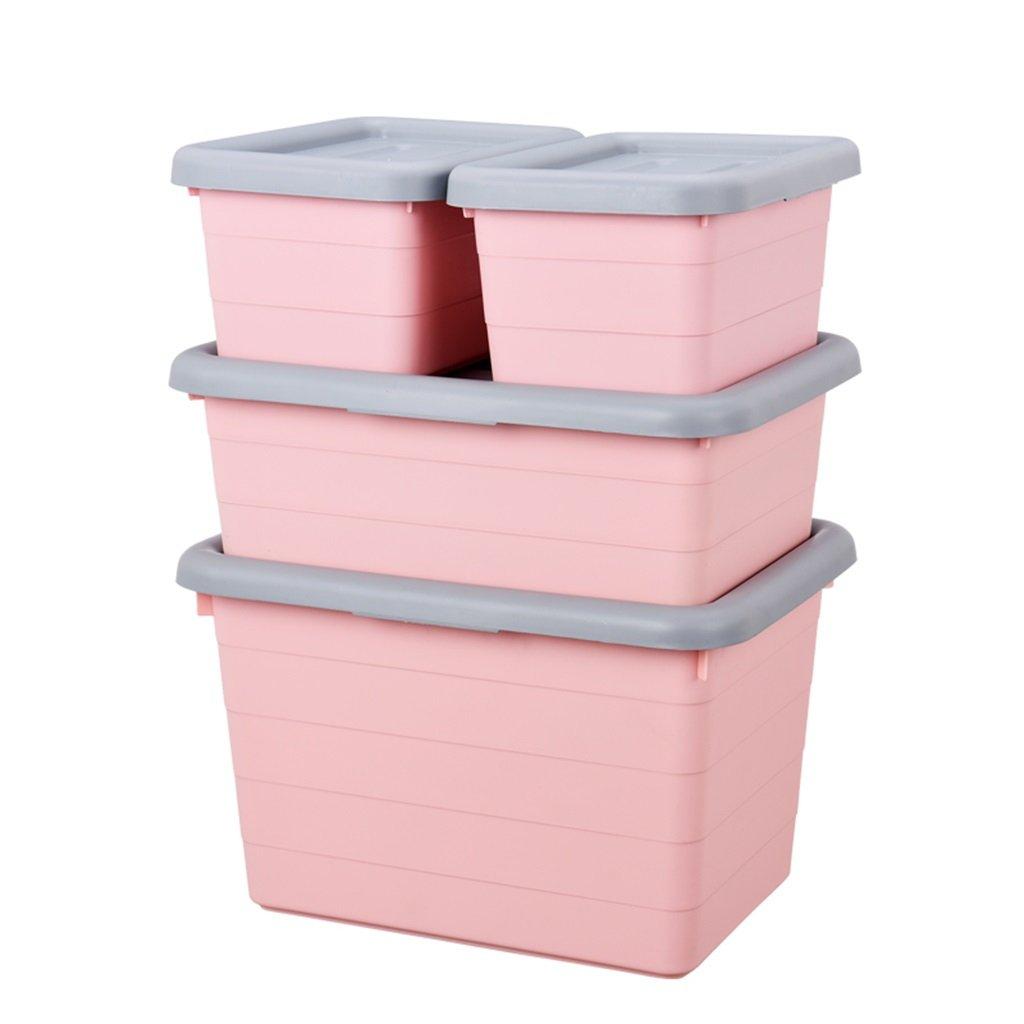 ストレージボックス環境にやさしい無茶ホームオフィスのベッドルームバスルームプラスチック服収納ボックス4ピースセット3色オプション B07Q1H6BMY pink