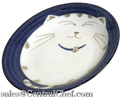 Japanbargain japonais Vaisselle en porcelaine avec motif chat Dish 4.75-inch bleu