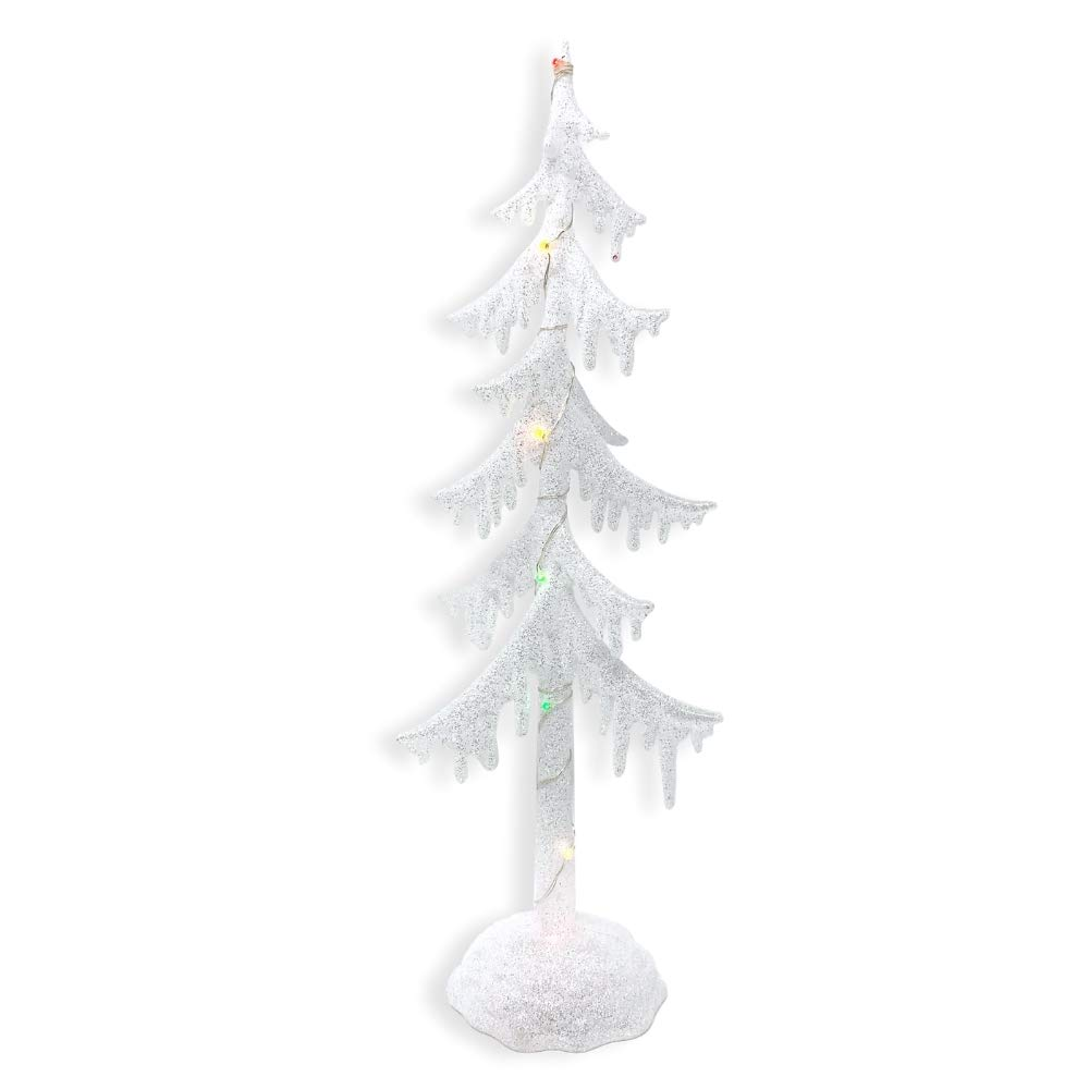 """BANBERRY DESIGNS Frosted White Glitter LED Light Up Acrylic Tree - 14"""" H - LED Xmas Tree with Color Changing Lights - Snow Covered-Looking Decorative Tree"""