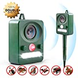 Animal Repellent Outdoor, Solar Ultrasonic Animal Repeller with LED Flashing Light, Waterproof Deterrent Scarer with Motion Sensor for Armadillo, Cat, Bird, Bat, Foxes,Skunk, Racoon, Protect Your Yard