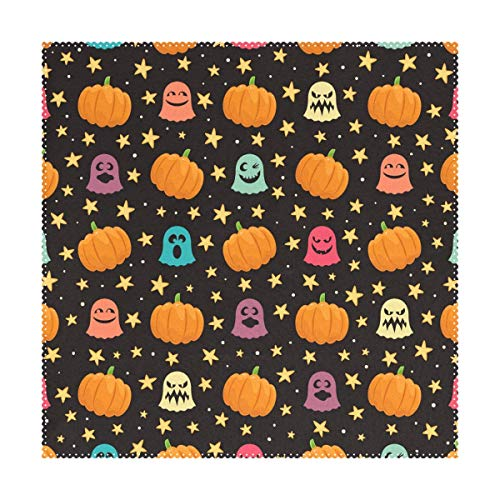 ZOMOY Halloween Pumpkins Ghosts Stars Polyester Placemats of Home Decor for Dining Table Party Kitchen Table 12x12 inch Everyday Use Meal Pad Cup Mat Set of 4,