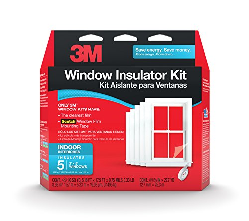 Plastic Window Insulation - 3M 2141BW-6  Indoor Window Insulator Kit, 5-Window