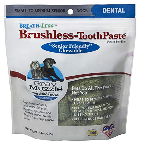 Ark Naturals Gray Muzzle Brushless Toothpaste, Vet Recommended Natural Dental Chews for Small to Medium Senior Dogs, Plaque, Tartar and Bacteria Control