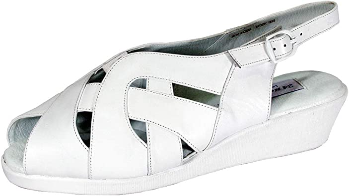 Wide Width Leather Wedge Sandals