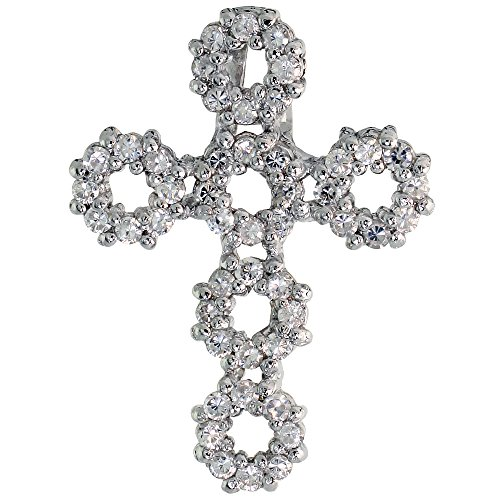 Circle Slider Pendant (Sterling Silver Circles Cross Slider Pendant w/ Pave CZ Stones, 1 inch (26 mm) tall)