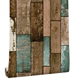 HaokHome 61025 Vintage Woods Panel Wallpaper Rolls Blue/Green/Brown Trees Kitchen Wall Paper Murals Barnwood Home 17.7''x 19.7ft Prepasted Contact Paper