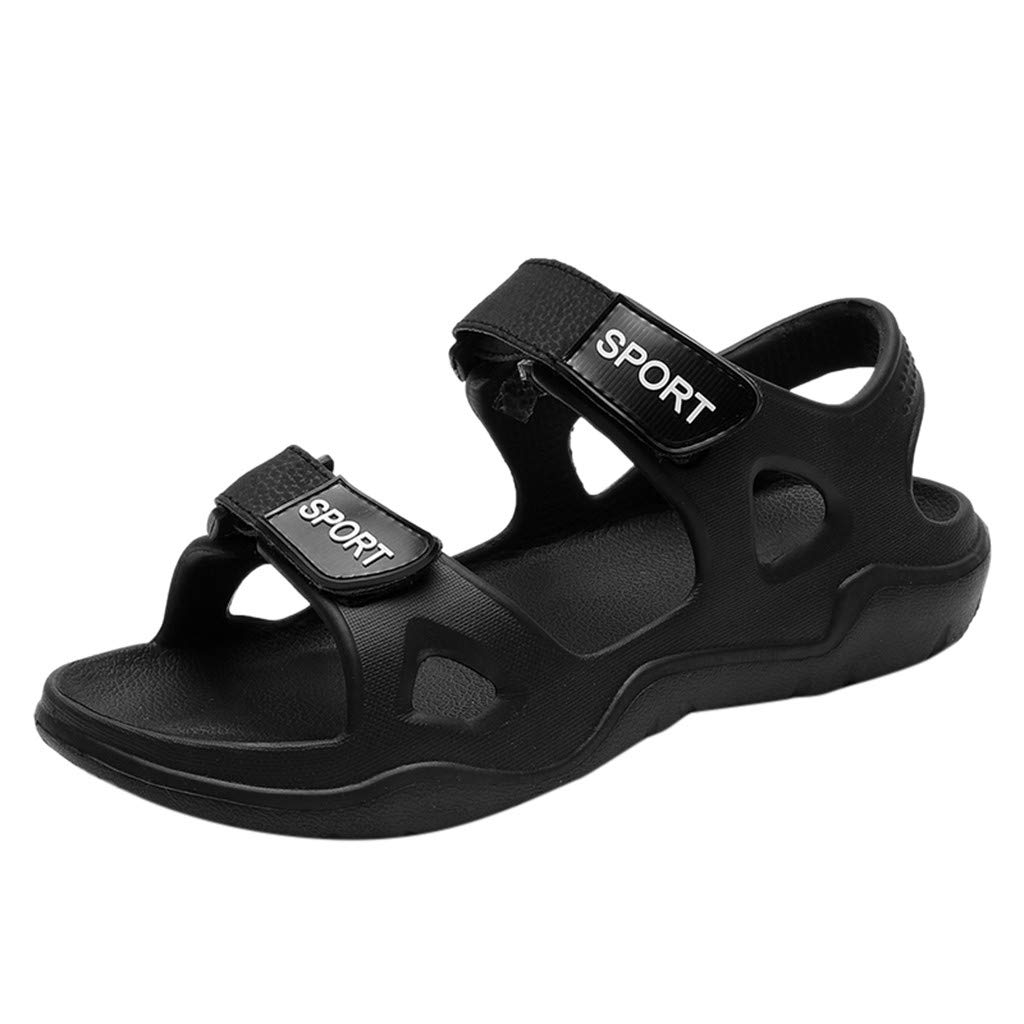Mens Beach Slippers Solid Hook Hollow Out Casual Breathable Flats Sandals Shoes