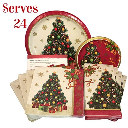 Christmas Tableware - Christmas Tree Holiday Disposable Tableware Set Paper Plates and Napkins Serves 24 Guests with Recipe Card (129 Pieces)