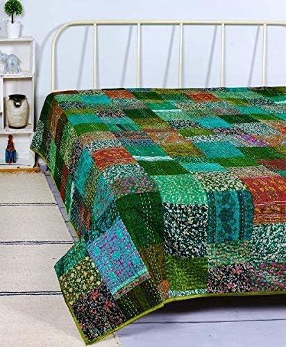 Green Patchwork Handmade Bedding Kantha Quilt Bedspread Throw Cotton Blanket