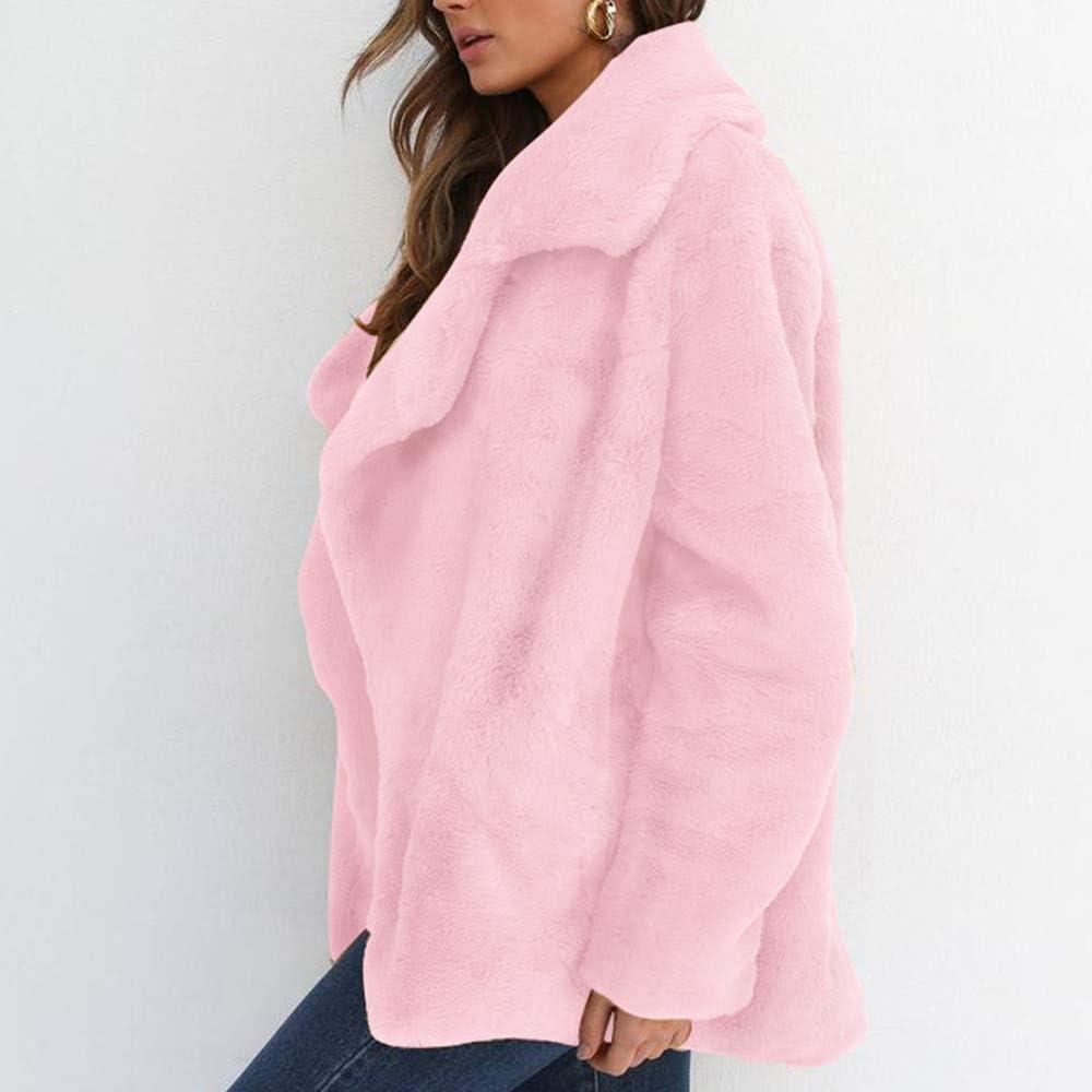 Winter Keep Warm Loose Big Collar Fur Outerwear Pink AgrinTol Women Coat