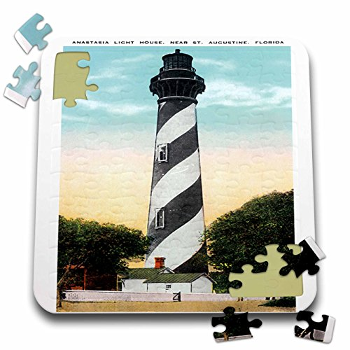 Anastasia Lighthouse - 3dRose BLN Vintage US Cities and States Postcard Designs - Anastasia Light house, St. Augustine, Florida - 10x10 Inch Puzzle (pzl_169573_2)