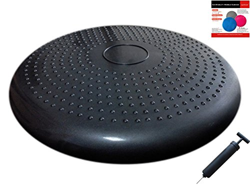 AppleRound Air Stability Wobble Cushion with Pump, Black, 35cm/14in Diameter, Balance Disc