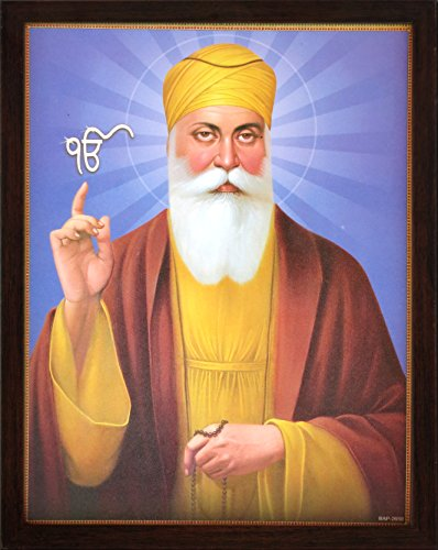 Handicraftstore Gurunanak Dev Ji with Ek Onkar Symbol, A Picture Poster Painting with Unbreakable Acrylic Glass framing for Home Decor and Auspicious Purpose.