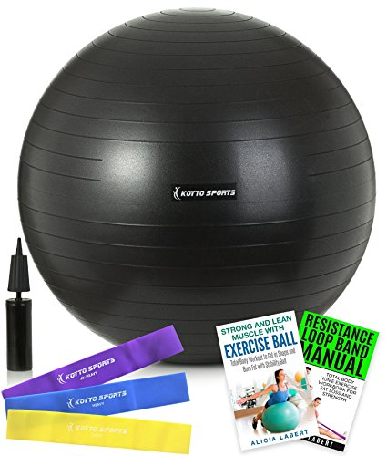 Exercise Ball – 75 cm Stability Ball - with Hand Pump, Exercise E-Book and Bonus Resistance Loop Bands for Yoga, Pilates and Core Training