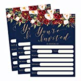 Health & Personal Care : 50 Floral Invitations, Fall Bridal or Baby Shower Invite, Birthday Invitation Wedding Rehearsal Dinner Invites, Autumn Engagement Bachelorette Reception Anniversary, Housewarming, Graduation, Sweet 16