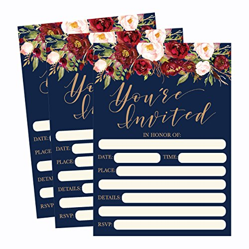 50 Floral Invitations, Fall Bridal or Baby Shower Invite, Birthday Invitation Wedding Rehearsal Dinner Invites, Autumn Engagement Bachelorette Reception Anniversary, Housewarming, Graduation, Sweet 16 -